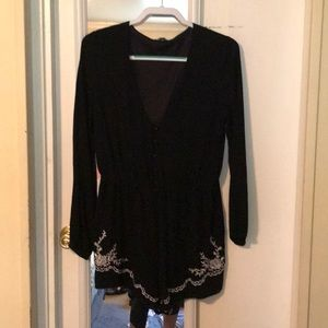 Black and white long sleeve romper
